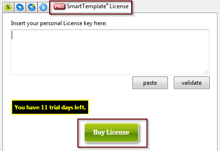 How to buy a license from settings dialog